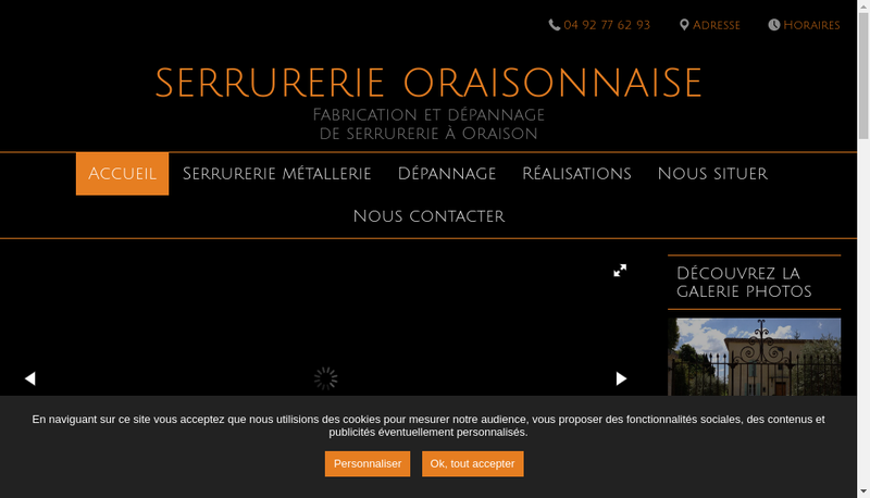 Capture d'écran du site de Serrurerie Oraisonnaise