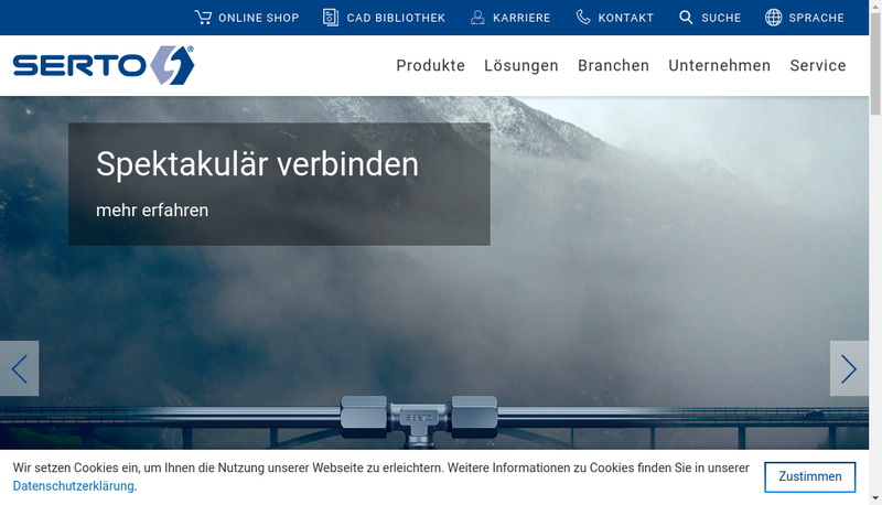 Capture d'écran du site de Serto