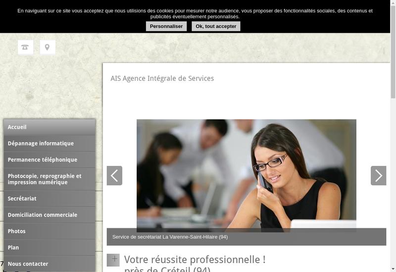 Capture d'écran du site de Agence Integrale de Services