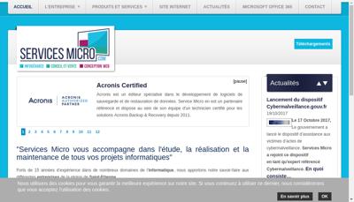 Capture d'écran du site de Services Micro