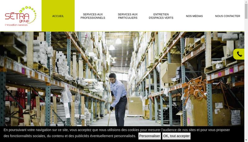Capture d'écran du site de Setra Nettoyage