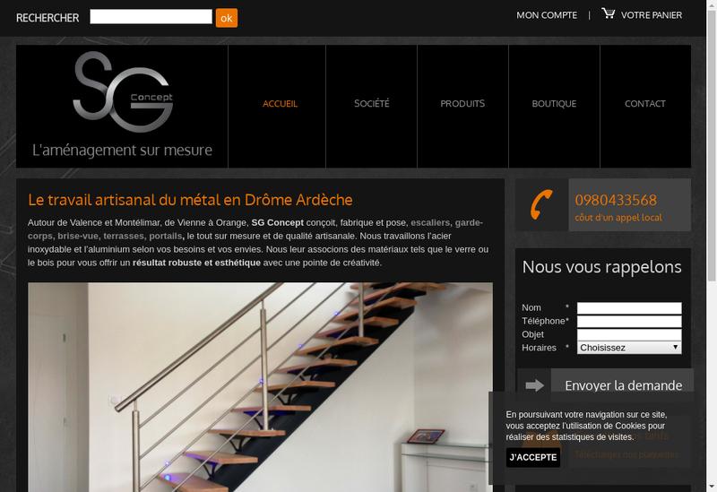 Capture d'écran du site de Sg Concept
