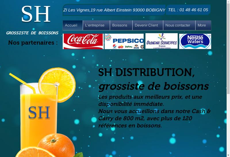 Capture d'écran du site de Sh Distribution
