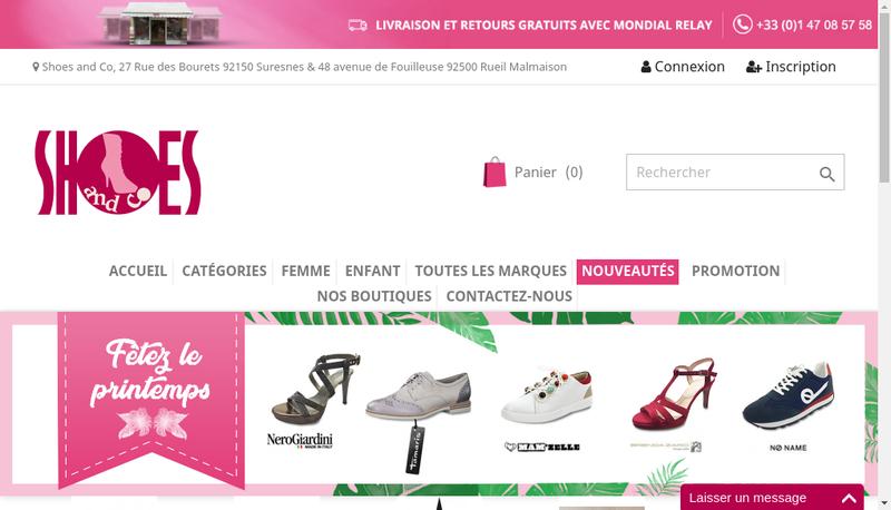 Capture d'écran du site de Shoes And Co