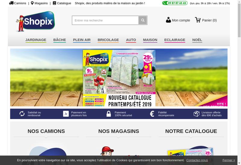 Capture d'écran du site de Shopix