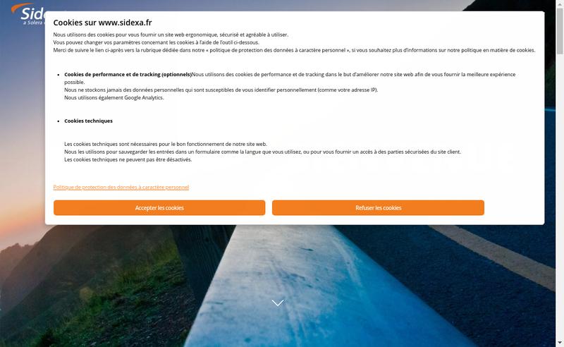 Capture d'écran du site de Sidexa