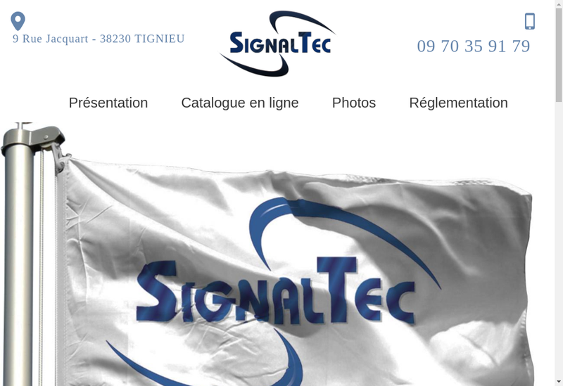 Capture d'écran du site de Signaltec