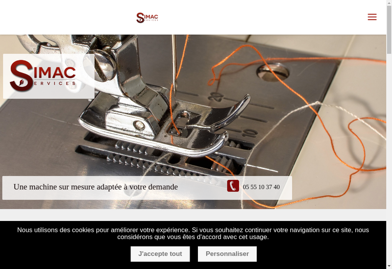 Capture d'écran du site de Simac Services