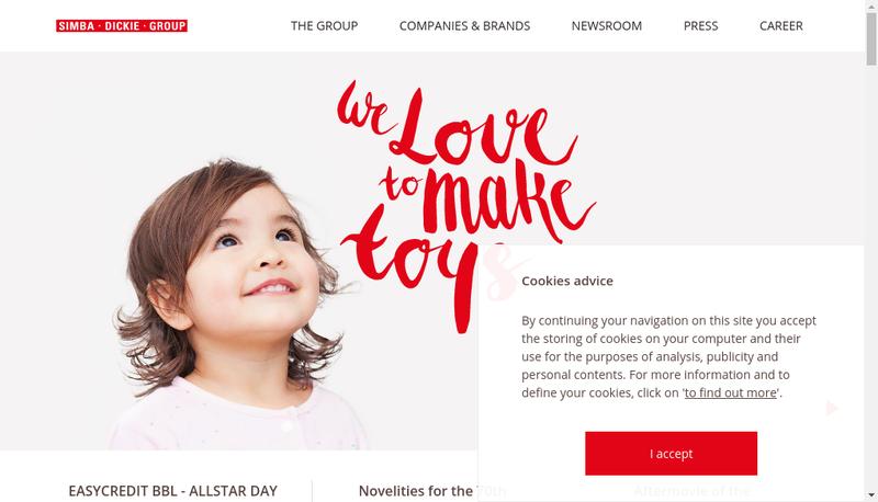 Capture d'écran du site de Smoby Toys SAS