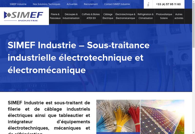 Capture d'écran du site de Simef Industrie