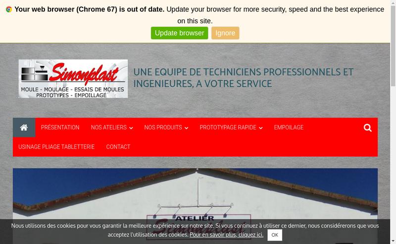 Capture d'écran du site de Simonplast