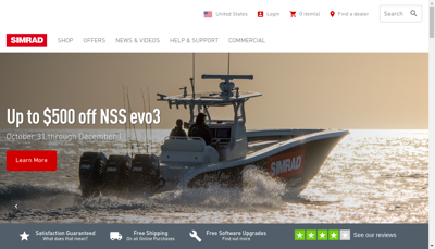Capture d'écran du site de Simrad