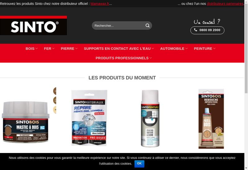 Capture d'écran du site de Sinto