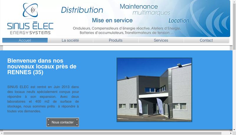 Capture d'écran du site de Sinus-Elec