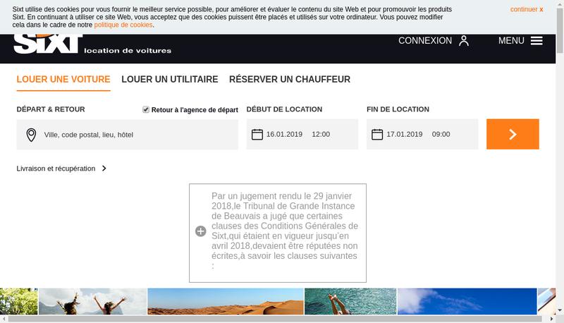 Capture d'écran du site de Sixt SAS