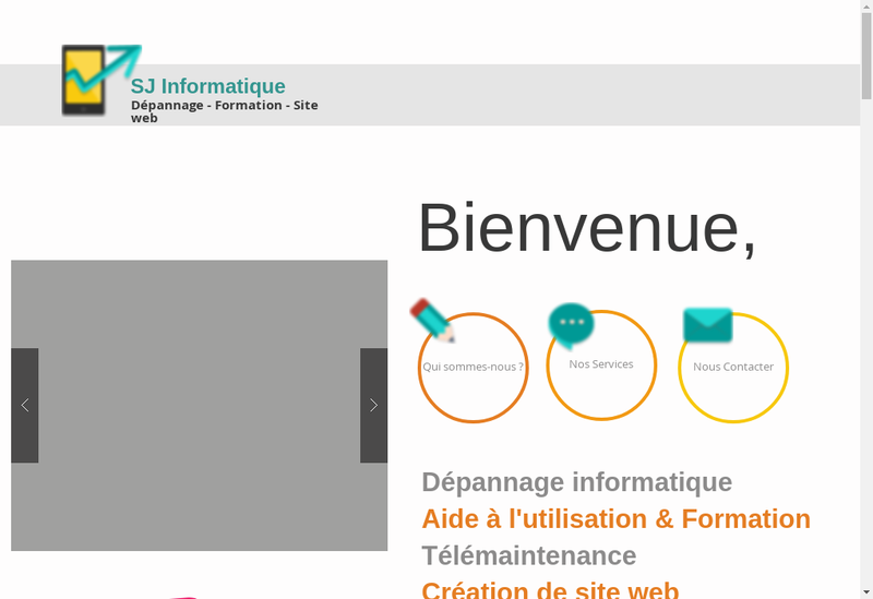 Capture d'écran du site de Sj Informatique