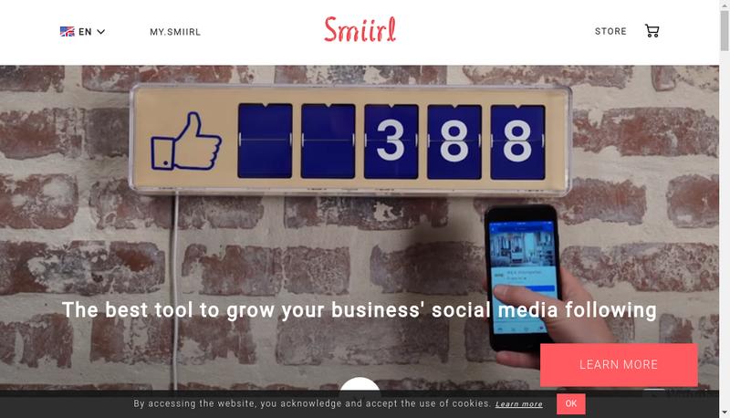 Capture d'écran du site de Smiirl