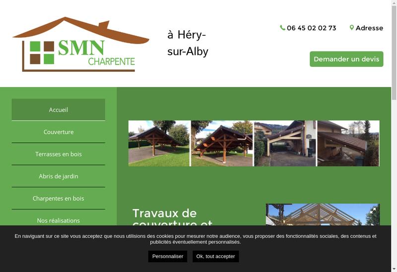 Capture d'écran du site de Smn Charpente