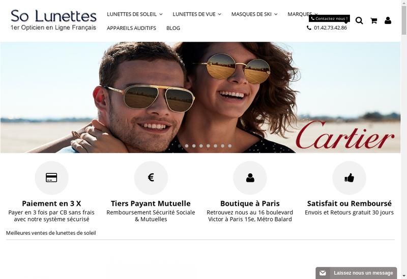 Capture d'écran du site de Optical Confort