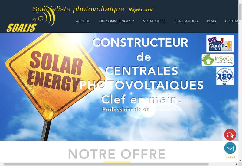 Capture d'écran du site de Soalis