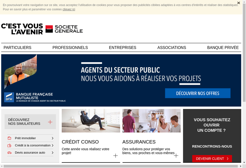Capture d'écran du site de Societe Generale