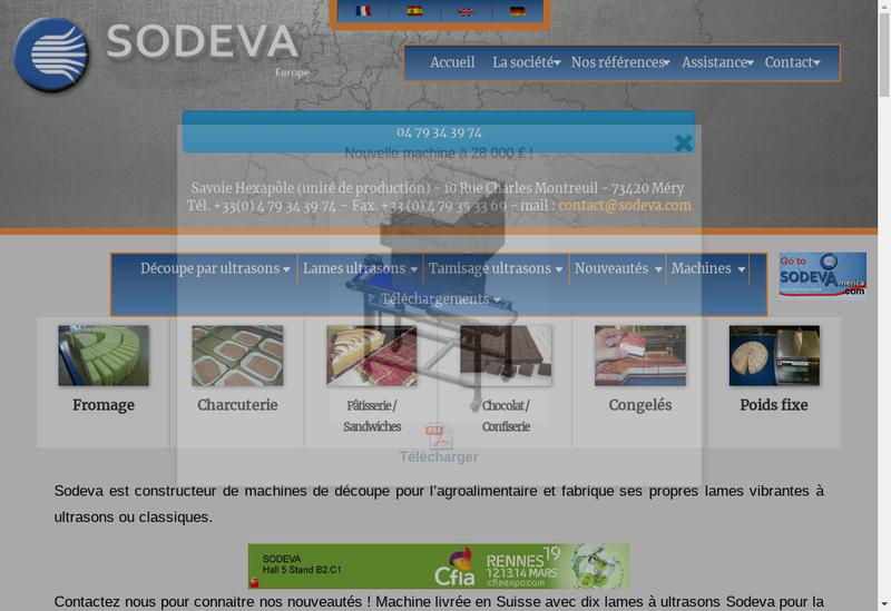 Capture d'écran du site de Sodeva Tds