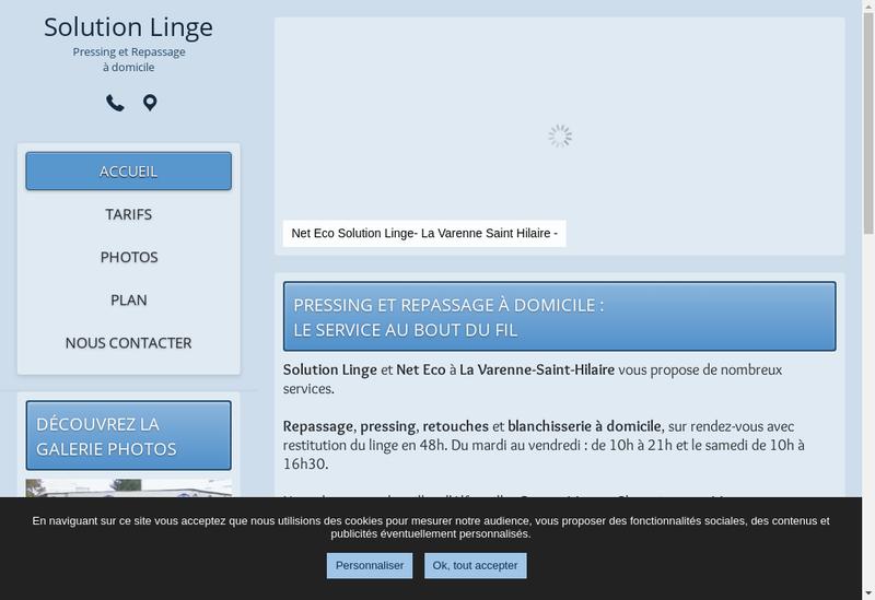 Capture d'écran du site de Solution Linge