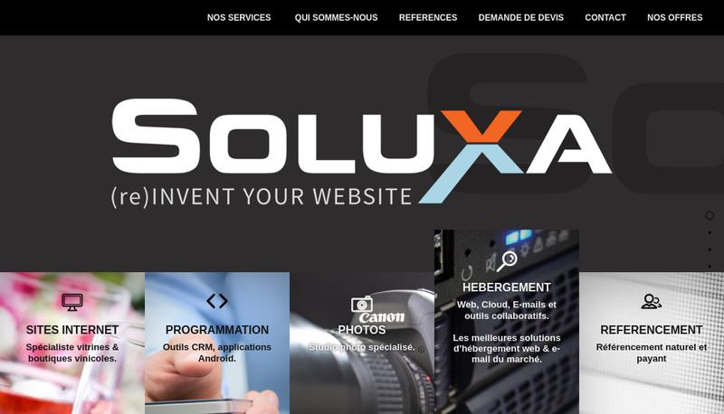 Capture d'écran du site de Soluxa SARL