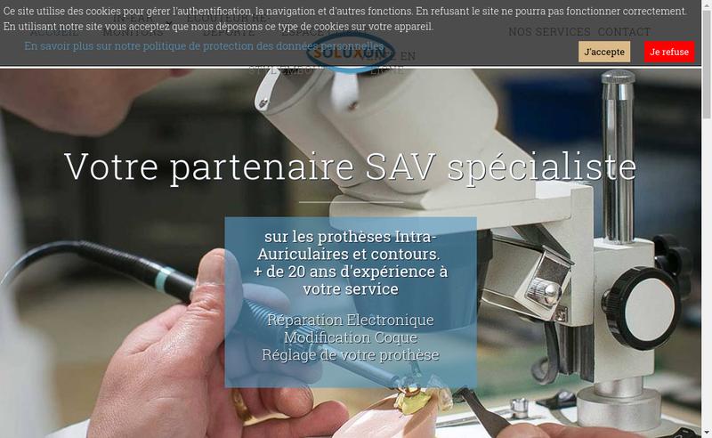 Capture d'écran du site de Soluxon