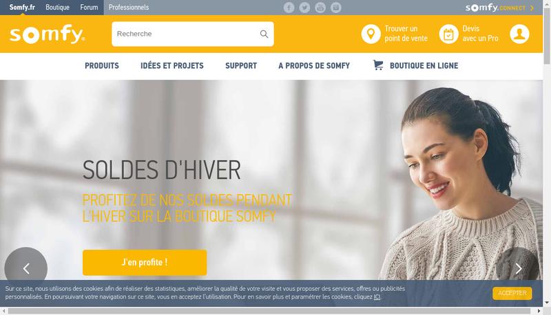 Capture d'écran du site de Somfy Activites SA