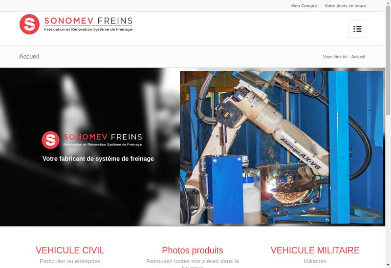 Capture d'écran du site de Sonomev Freins