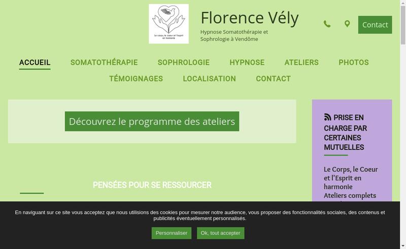 Capture d'écran du site de Florence Vely