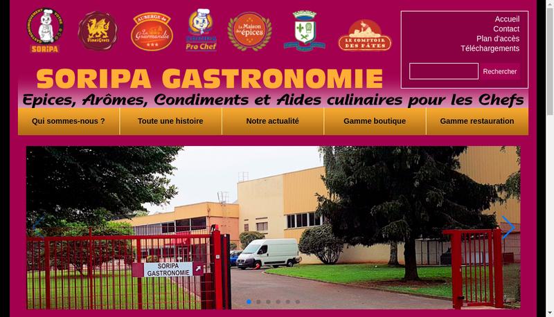 Capture d'écran du site de Soripa les Restaurateurs et Hotelier