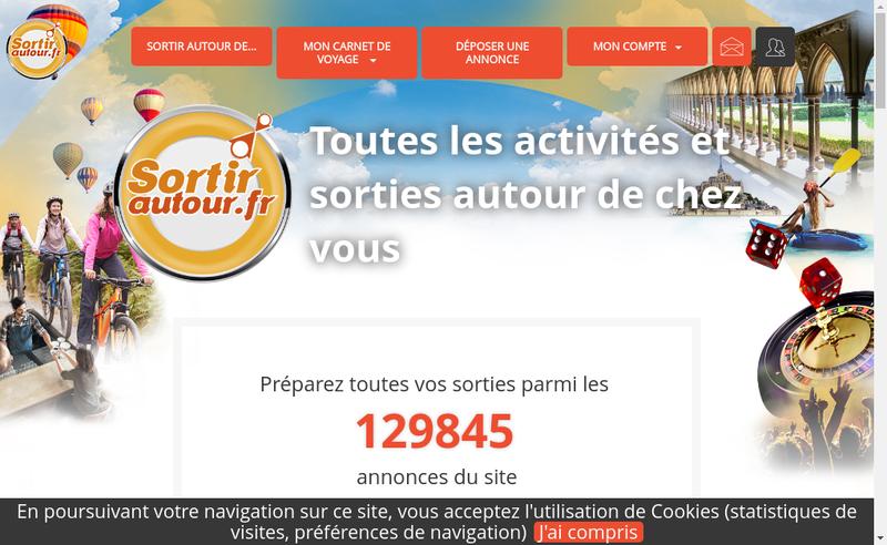 Capture d'écran du site de Sortir Autour