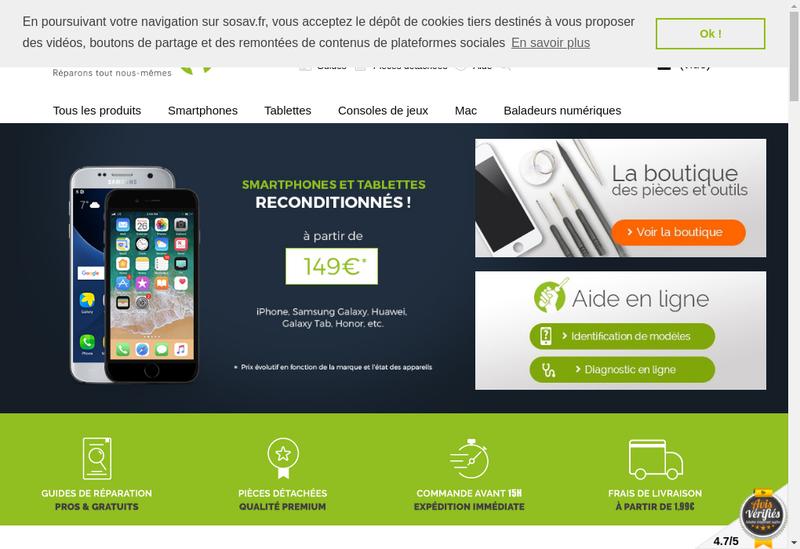 Capture d'écran du site de Sosav
