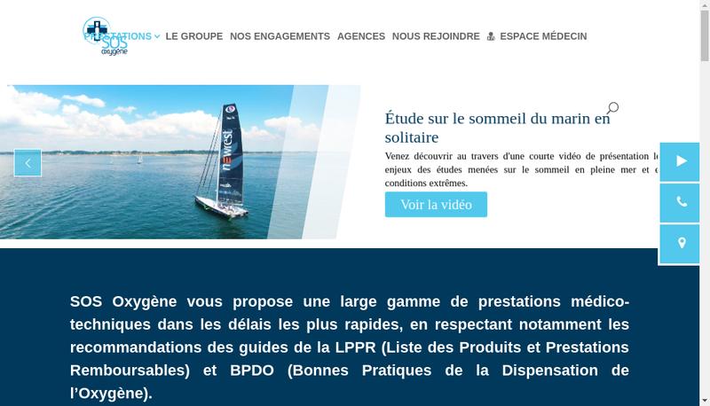 Capture d'écran du site de Sos Oxygene Grand Sud