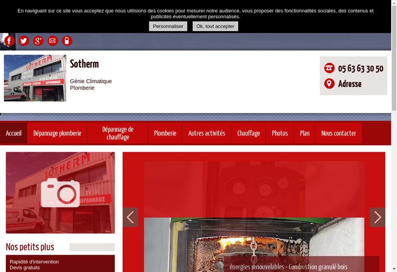 Capture d'écran du site de Sotherm