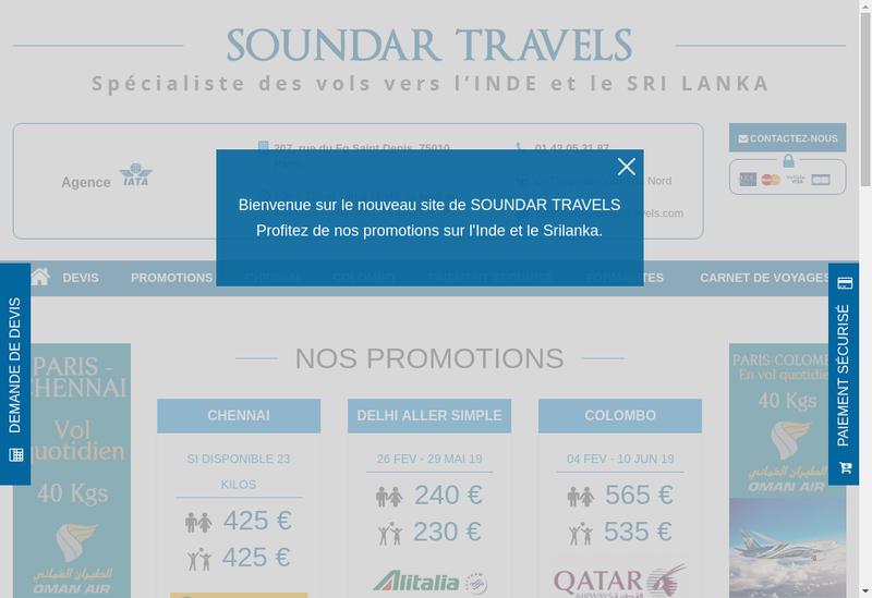 Capture d'écran du site de Eva Travels