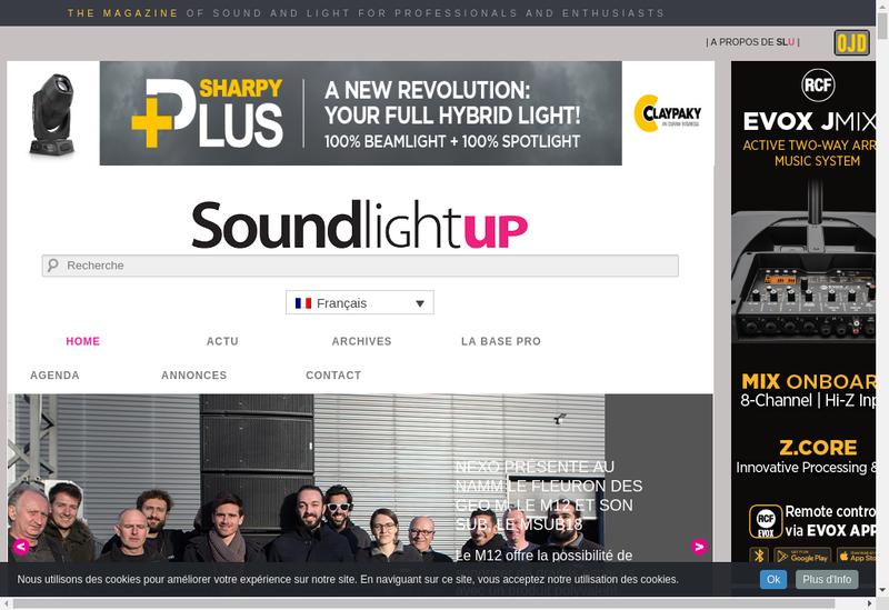 Capture d'écran du site de Sound Light Up / Slu