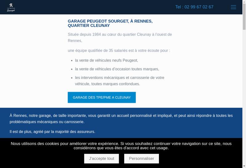 Capture d'écran du site de Garage Sourget