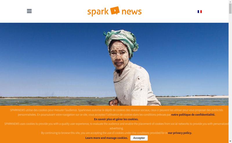 Capture d'écran du site de Sparknews