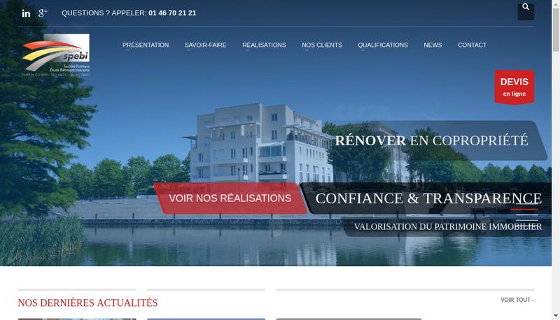 Capture d'écran du site de SPEBI