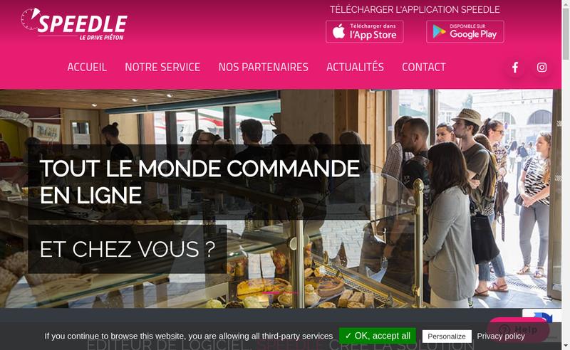 Capture d'écran du site de Speedle