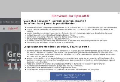 Capture d'écran du site de Spin Off