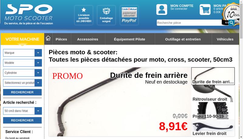 Capture d'écran du site de Spo Moto Scootor