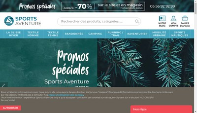 Site internet de Sports Aventure