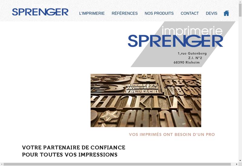 Capture d'écran du site de Imprimerie Sprenger