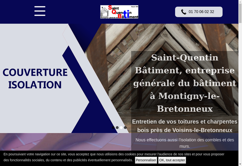 Capture d'écran du site de Saint Quentin Batiment
