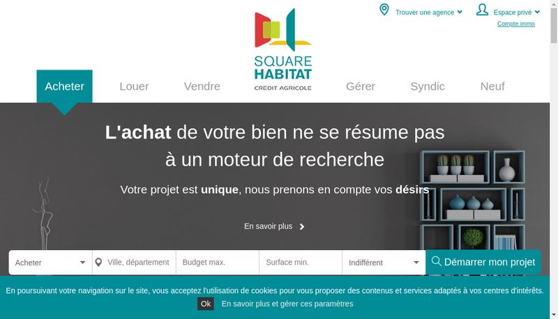 Capture d'écran du site de Square Habitat Sud Rhone Alpes
