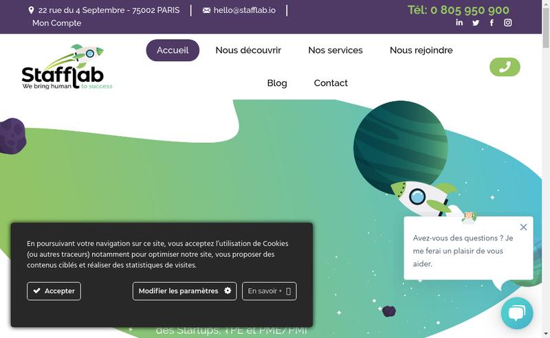 Capture d'écran du site de Stafflab